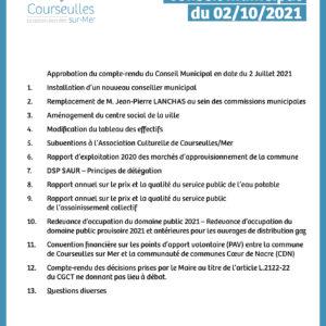 Conseil Municipal du 2 octobre 2021